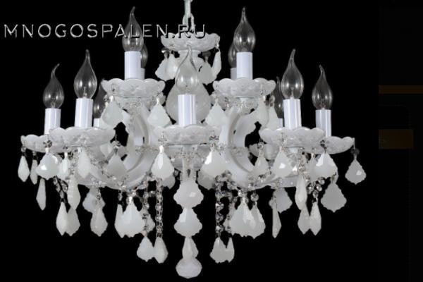 Люстра Crystal lux Ines SP8+4 WHITE купить в салоне-студии мебели Барселона mnogospalen.ru много спален мебель Италии классические современные