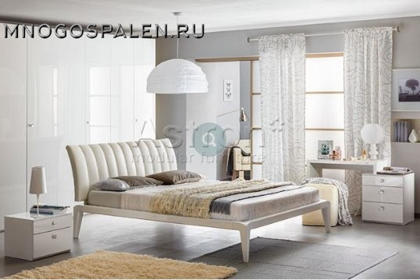 Белая спальня в глянце I008 ASTRON купить в салоне-студии мебели Барселона mnogospalen.ru много спален мебель Италии классические современные