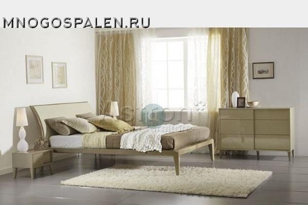 Глянцевая спальня цвета капучино M105 купить в салоне-студии мебели Барселона mnogospalen.ru много спален мебель Италии классические современные