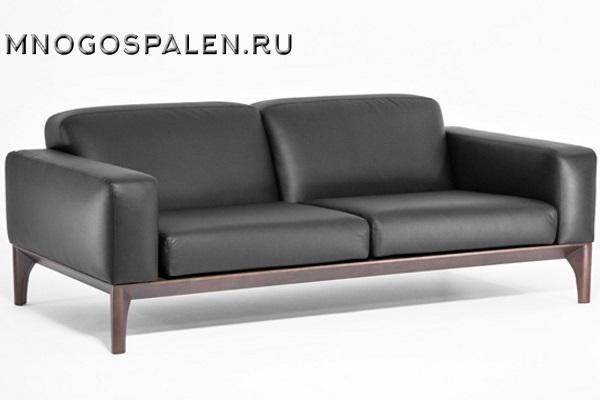 Диван Fiotto 2-х местный черная кожа купить в салоне-студии мебели Барселона mnogospalen.ru много спален мебель Италии классические современные